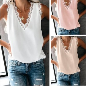 Fashion Summer 2020 Women Tank Tops V Neck Sleeveless Casual Lace Tops Plus Size Women Clothes Bottoming Vest Shirt Sexy