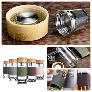 350ml 12oz Glass Water Bottles Heat Resistant Round Office Tea Cup With Stainless Steel Tea Infuser Strainer Tea Mug Car Tumblers RRA3569