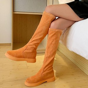Hot Sale-shoes woman new fashion boots zapatos de mujer Women's Fashion Winter Low Slip On Flock Solid Candy Colors Mid-Shaft Boots