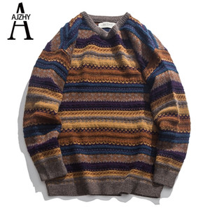 Fashion Korean Striped Mens Sweaters Casual Vintage Winter Sweater Hip Hop Knitted Pullover Big Sizes Sweater Jacket Tops 201201