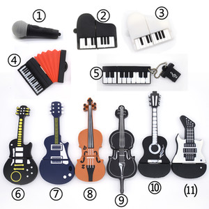 New Musical Instruments Model USB flash drive 8gb 16gb 32gb 64gb microphone piano guitar Pen drive flash memory stick
