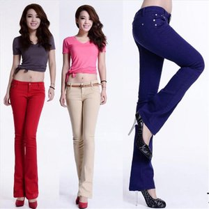 new cotton Pure color colour Elastic force Bell bottoms trousers high waist jeans woman skinny women jeans mujer jean plus size