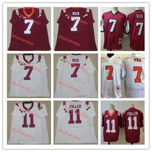 Mens NCAA College Virginia Tech Hokies # 7 Michael Vick Футбол Футбол Джьи сшитые бордовый # 11 Кендолл Фуллер Вирджиния Tech Hokies Jersey S-3XL