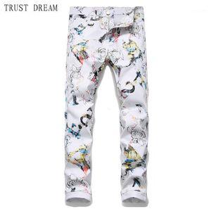 2020 europäische stil mann weiße jeans schlanke floral männer gedruckt 3d hosen homme hombre persönlich atemberaubend männlich casual cool jean1