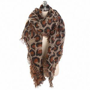 2019 Scarves Women Leopard Printed Scarf Faux Cashmere Leopard Print Tassel Frayed Long Wide Warm Winter Shawl Blanket Scarf w9JH#