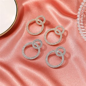 10pairs Lot European Double Circle Dangle Earrings With Full Diamond Alloy Gold Ear Drop Women Round Hollow Fashion Stud Earrings Jewelry