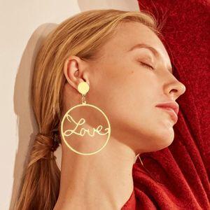 EN Fashion Big Round Circle Hollow LOVE Earrings For Women Simple Geometric Hanging Dangle Earrings Female Statement Jewelry