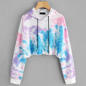 Hoodie Women Colorful Long Sleeve Sweatshirt Ladies Tie dyeing Crop Hooded Sweatshirt Top Autumn Cropped Hoodie Polerones Mujer