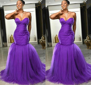 Sexy African Plus Size Purple Mermaid Prom Dresses Sweetheart Tulle Evening Dress Backless Formal Party Gowns robes de soiree vestidos