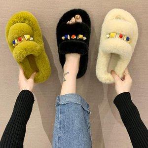Low Slippers Casual Shoes Fur Flip Flops Flock Slipers Women Slides Luxury Soft Plush 2020 Flat Basic Rubber with fur Fretwork