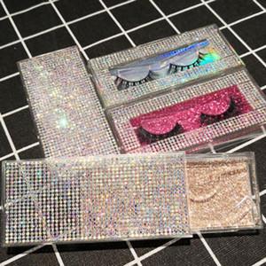 Wholesale 1pc False Eyelash Packaging Glitter Rhinestone Box Fake 10mm-25mm 3D Mink Eyelashes Crystal Diamond Case Lashes Empty