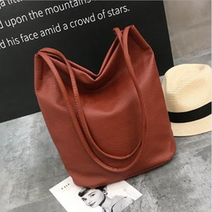 Trendy lychee washed leather PU bucket bag simple fashion shoulder bag large capacity women's shopping bag solid handbags