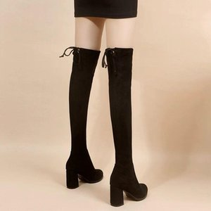 Women's Over The Knee 2020 New Autumn Winter Boots Thin and Thin Flock Elastic Boots Autumn Style High-heeled