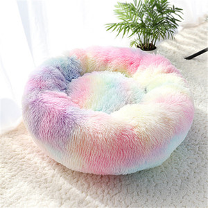 Pet Dog Bed Warm Fleece Round Dog Kennel House Long Plush Winter Pets Dog Beds Dogs Cats Soft Sofa Cushion Mats Free Shipping