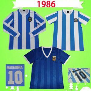 # 10 Maradona 1986 Argentine Rétro Soccer Jerseys Kempès Canégigia 86 Chemises de football Vintage Classic Home Away Blue Camisetas de futbol