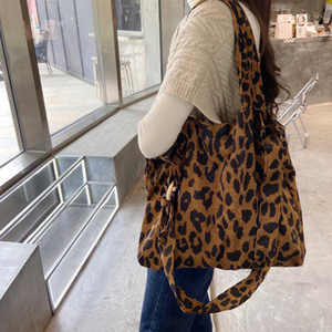 New Corduroy Leopard Print Bag Ladies Shoulder Zebra pattern Casual Tote Shopping Bag Large capacity Handbags Totes Women