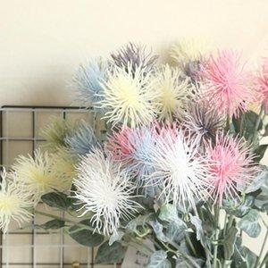 3 Kafa Sahte Çiçekler Floklu Leucospermum Yapay Çiçekler Düğün Dekorasyon Flores Yapaylar için Sahte Çiçek Bitki
