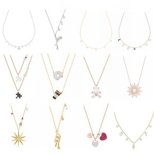 High quality 1: 1 original SWA DIY jewelry simple modern fashion trend wine glass diamond female 925 sterling silver necklace