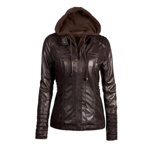 Women hoodies Winter Moto Jacket Hot Turn Down Collor Ladies Zipper Outerwear Faux Leather PU female Coat chaqueta mujer