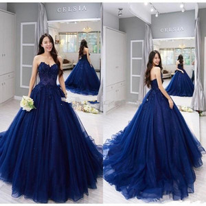 2021 Navy Blue Quinceanera Dresses Ball Gown Sweetheart Sweep Train Prom Dresses With Lace Applique Tulle Sweet 16 Gowns