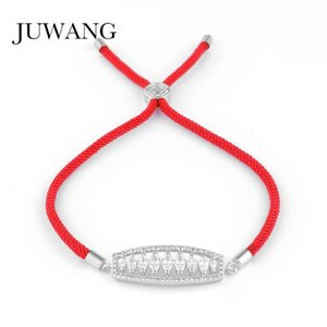 JUWANG Cubic Zirconia Red and Black Thread String Rope Femme Bracelet Gold Color Women Wedding Jewelry Gift