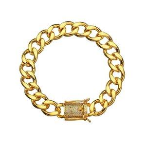 Karopel Crystal Cz Zircon Triple Lock Bracelet 10mm Cuban Link Box Clasp Bracelet Men Female Hip Hop Jewlery Drop wmtTSu