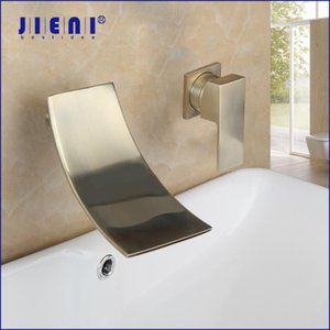 JIENI Wall Mounted Waterfall Bathroom Bathtub Faucet Brushed Golden Bathroom Basin Sink Faucet 1 Handle Hot & Cold Mixer Tap