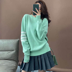 2020 autumn new sweater quick hand web celebrity same style four bar loose pullover popular logo sweater top woman