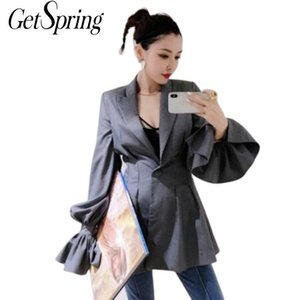 GETSRING Women Blazer Gray Thin Slim Leisure Suit Women Flare Sleeve Solid High Waist Blazers And Jacket 18 Spring Autumn