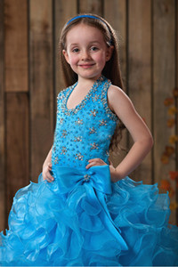 2019 Hot Sales Blue Ball Gown Flower Girl Dresses Halter Beaded Rhinestone Sequined Organza Ruffles Floor Length Princess Kid's Gowns