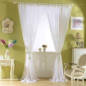 Weiße Tüllvorhänge für Wohnzimmer bestickte Damastvorhänge für Schlafzimmerfenster Schleier Sheer Voile Liner Europäische Panel1