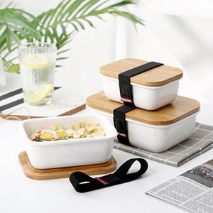 Baispo Bamboo Cover Cover Lunch Box in stile giapponese in ceramica a microonde a microonde alimento sigillato contenitore per adulti Bento scatola frigorifero scatola di immagazzinaggio Z1123