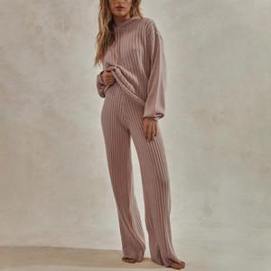 2020 Women Knitted Lounge Wear Sets 2pcs Long Sleeves Suit Ladies Tracksuit Set Autumn Casual Streetwear Hooded Clubwear T200930
