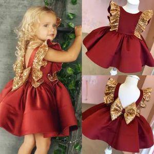 Baptism 1st Birthday Sequin Baby Girl Dress Christmas Big Bow Kids Party Wedding Dress Palace Evening Princess Dress 3M-5T Years F1203