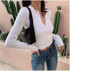 Autumn and winter new chic soft wind t-shirt female long sleeve pullover with V neck sweater