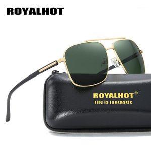 Royalhot Siyahımsı Yeşil Polarize Güneş Gözlüğü Sürüş Kare Sunglass Erkekler Vintage Marka Gözlük Yüksek Kalite Kadın Güneş Gözlükleri1