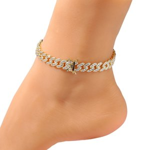 Womens Anklets Bracelet Iced Out Cuban Link Anklets Bracelets Gold Silver Pink Diamond Hip Hop Anklet Body Chain Jewelry