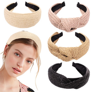 Korean Style Solid Knotted Handmade wide Straw Headband Turban Women Girls hair Hoop Bezel Hairbands Hair Accessories Headwear Z1993
