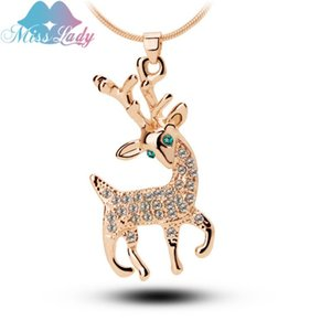 Miss Lady Rose Gold color Crystal Cute Lovely Deer Chains maxi Necklaces Wholesales Fashion Jewelry Jewellery for women Y5146