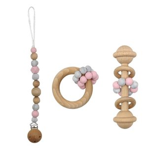 INS 3pcs set Baby Clip Chain Holder Wood Beaded Pacifier silicone pacifier clips baby teether newborn toys Infant Feeding B3285