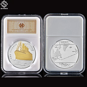 Titanic Sailing Routes Gold Silver Plated Commemorative 100 Anniversary Years RMS Titanic Ship Incident Collection Coin W PCCB Box