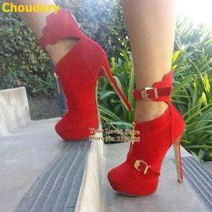 Mujeres calientes rojos sudo delgado tacón alto botas de tacón alto oro hebilla de la correa de la correa de la correa de la correa de la cremallera de la cremallera con adornos adornados Gladiator Booties