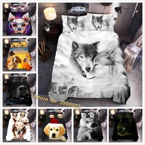 3D Wolf Bedging Set Установите King Size Dog Cat Print The Douget Cover Набор Крышка Королева Утешитель Крышка Крышка D-13 F1216