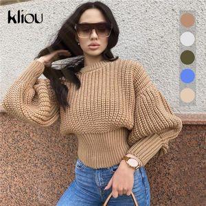 Kliou Knitwear Thick Warm Autumn Winter Sweaters 2020 Streetwear Shaped Waist Lantern Sleeve Jumpers Basic Pullover Hot Selling