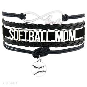 Regalo Infinity Sports Love Softball Wrap Mom fans personalizzato Dropshipping Mens Braccialetti per le donne