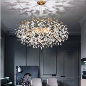 الذهب الحديث led كريستال الثريا لغرفة المعيشة الفاخرة الكريستال الثريات فندق قاعة الفن ديكور داخلي شنقا مصباح الإضاءة