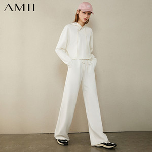 AMII Minimalism Autumn Causal Women Hoodies Set Embroidery Hooded Loose Sweater Hoodies Solid ElasticWaist Female Pants 12040389 A1112