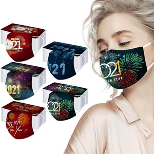 2021 Happy New Year Fashion Disposable Face Mask Dust Smoke proof Breathable 3 Layer Protective Masks Non-Woven Masks YYS3132