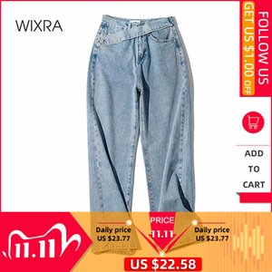 Wixra Womens Demin Pants Design High Waist New Fashion Straight Jeans Womens Street Style Loose Jeans Spring Autumn A1112