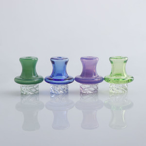 Newest 25OD Glass Carb Caps 4Colors UFO Spinning Carb Caps For 25OD Beveled Edge Flat Top Quartz Banger Water Bongs
